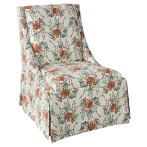 Jody Skirted Side Chair, Bamboo Tiger