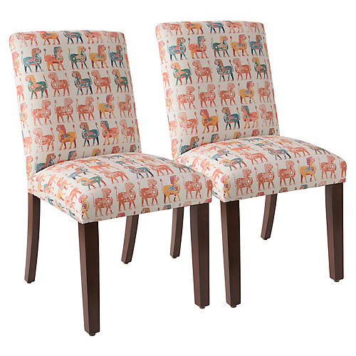 S/2 Shannon Side Chairs, Lion Block