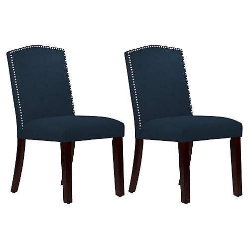 Marie Navy Linen Side Chairs, Pair