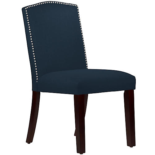 Mary Side Chair, Navy Linen