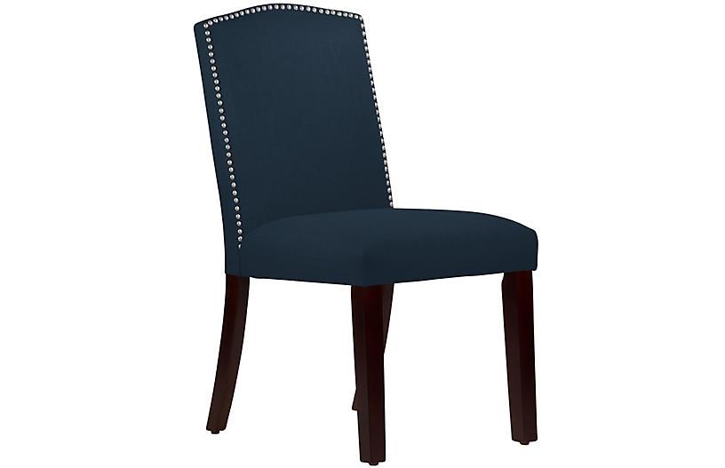 Marie Side Chair, Navy Linen