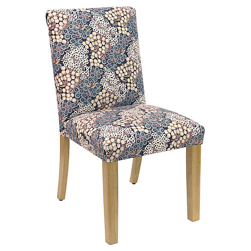 Shannon Side Chair, Navy/Blush Linen