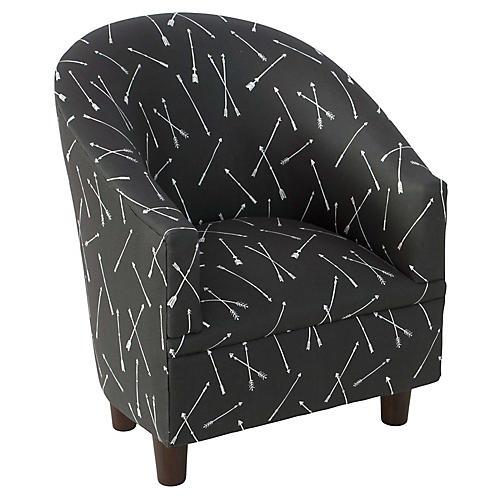 Ashlee Kids' Barrel Chair, Black/White