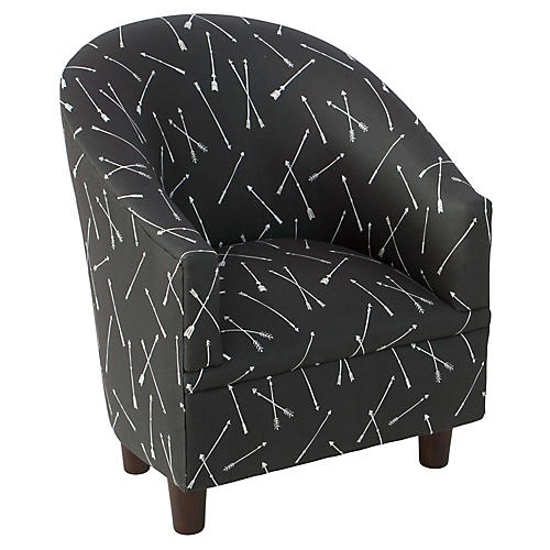 Ashlee Kids' Barrel Chair, Black Linen