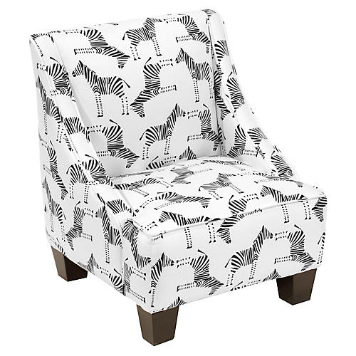 Fletcher Kids' Chair, Black/White Linen