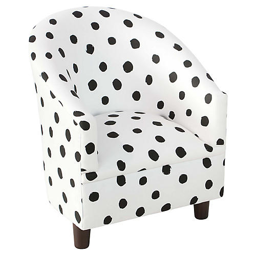 Ashlee Kids' Barrel Chair, Black/White Linen