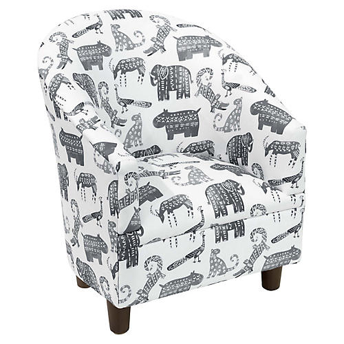 Ashlee Kids' Barrel Chair, Gray Linen