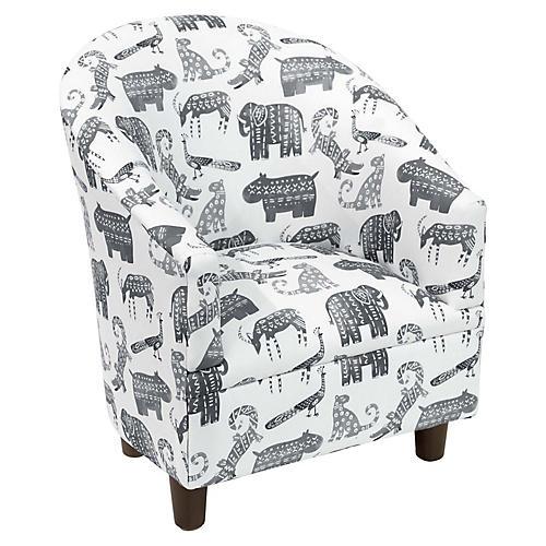 Ashlee Kids' Barrel Chair, Gray Linen