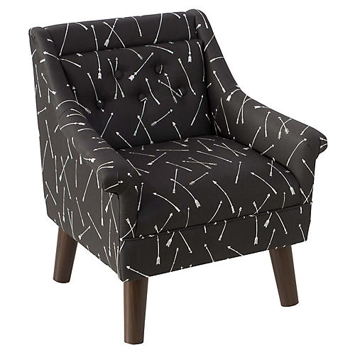 Bella Kids' Accent Chair, Black Linen