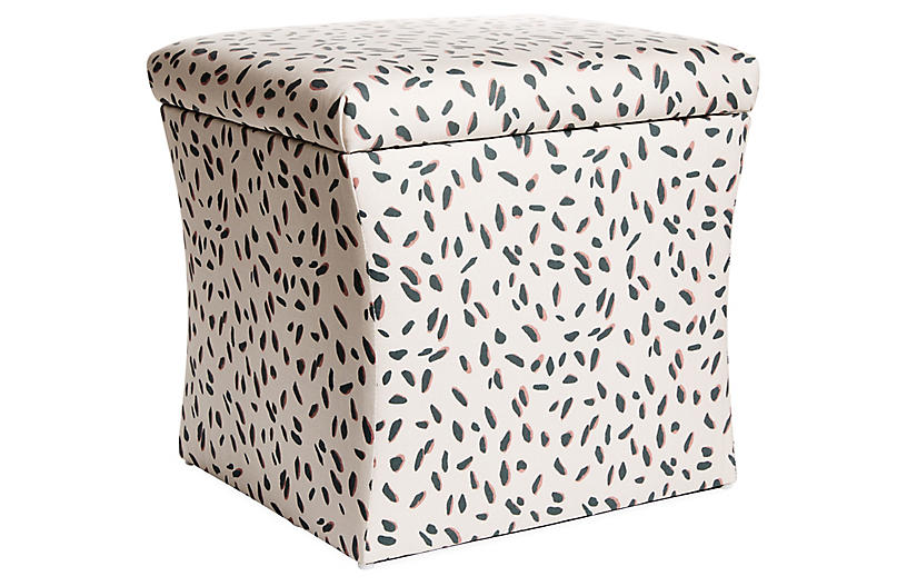 Maria Storage Ottoman, Cream/Teal Linen