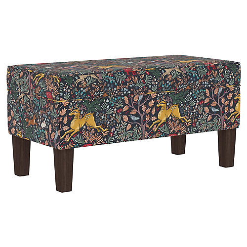 Oden Kids' Bench, Navy Linen