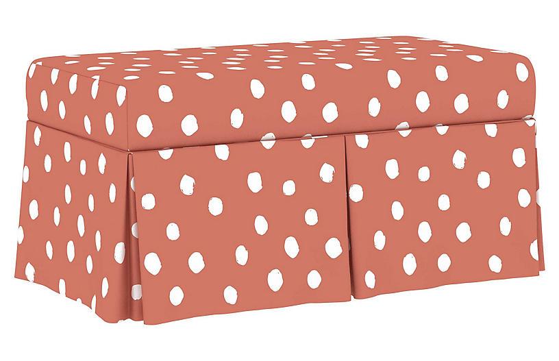 Hayworth Storage Bench, Pink Linen