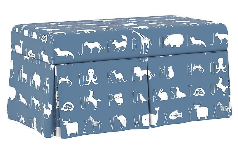 Hayworth Storage Bench, Blue Linen