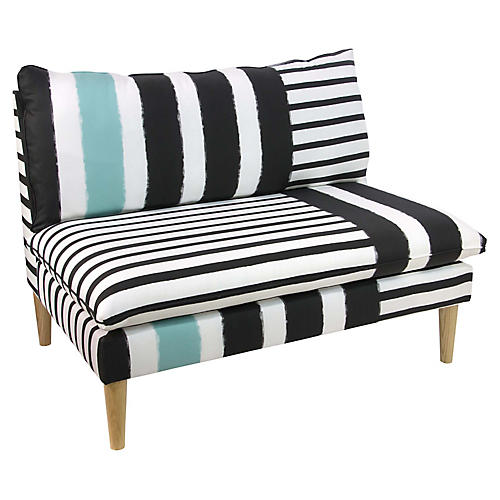 Bonnie Settee, Turquoise Stripe