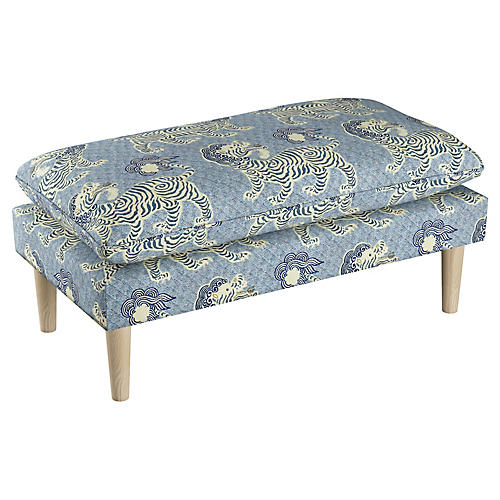 Eva Pillow-Top Bench, Blue/Cream