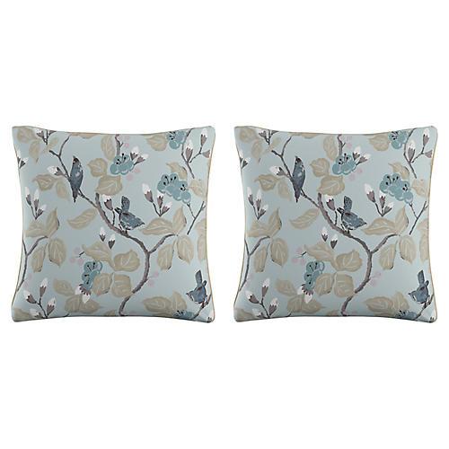 S/2 Chinoiserie 20x20 Pillows, Blue Linen