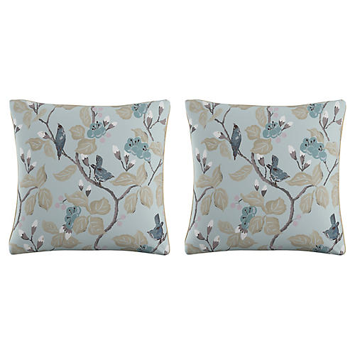 S/2 Chinoiserie Pillows, Blue Linen