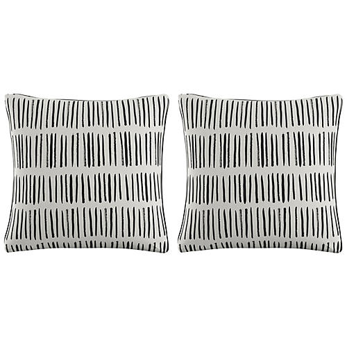 S/2 Dash Pillows, Black Linen