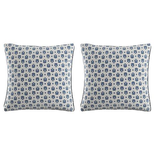 S/2 Block Pillows, Blue Linen