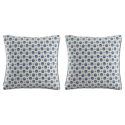 S/2 Block Pillows, Blue Linen
