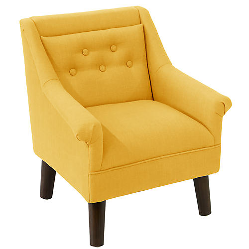 Bella Kids' Accent Chair, Yellow Linen