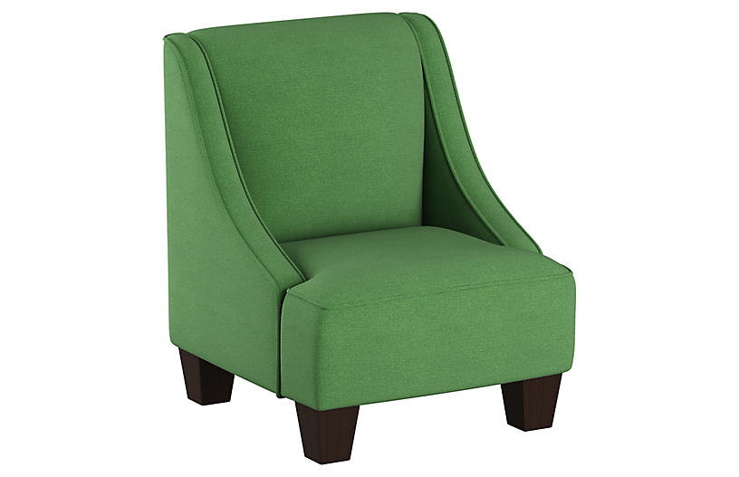 Fletcher Kids' Accent Chair, Green Linen