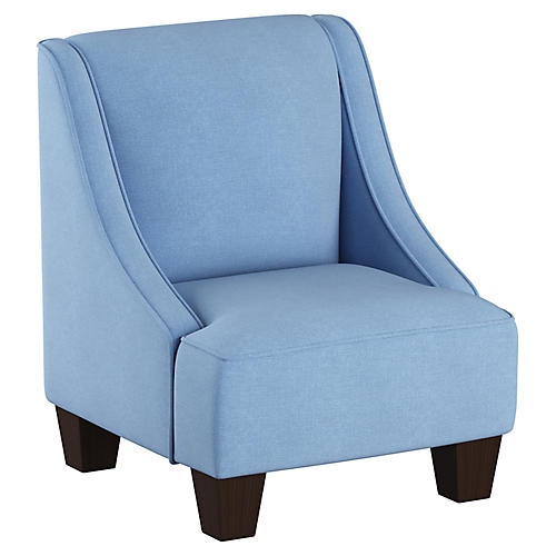 Fletcher Kids' Accent Chair, French Blue Linen