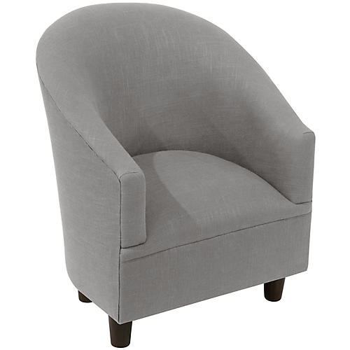 Ashlee Kids' Barrel Chair, Gray