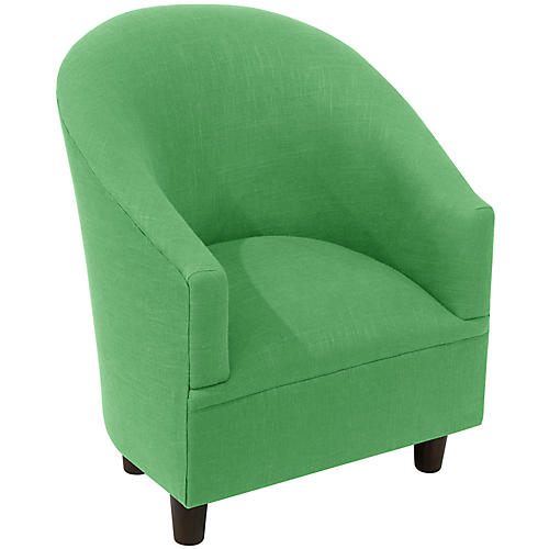 Ashlee Kids' Barrel Chair, Green Linen