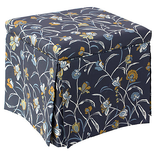Anne Skirted Storage Ottoman, Navy Floral Linen