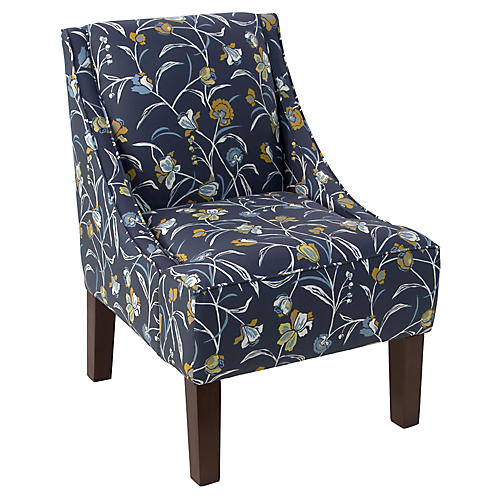 Quinn Swoop-Arm Chair, Navy Floral Linen