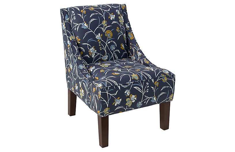 Quinn Swoop-Arm Accent Chair, Navy Floral Linen