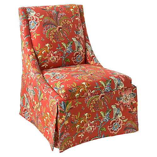 Jody Skirted Swoop-Arm Side Chair, Spice Linen