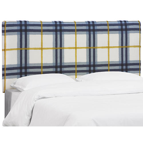 Macy Headboard, Blue/Yellow Linen