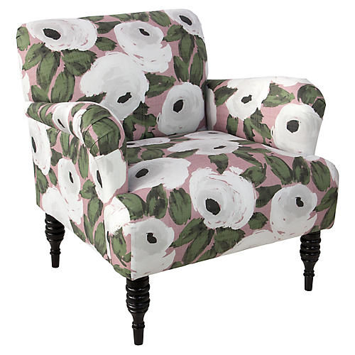 Tina Accent Chair, Blush Linen
