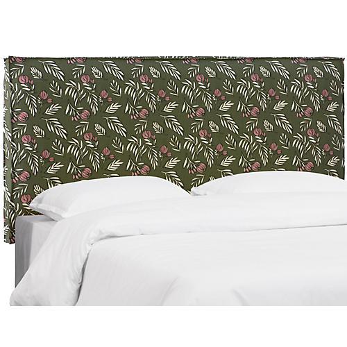 Taylor Slipcover Headboard, Green Linen