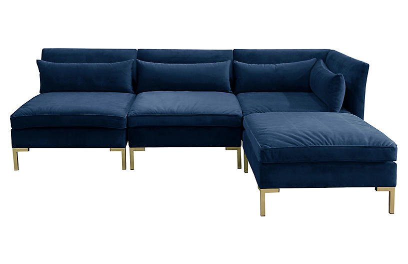 Marceau Reversible Sectional, Navy Velvet