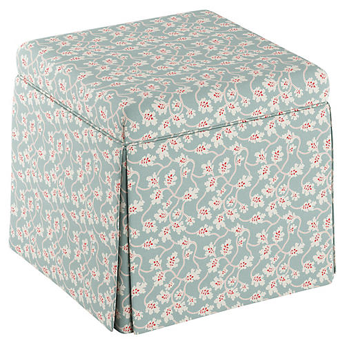 Anne Skirted Storage Ottoman, Seafoam Linen