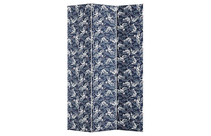 Merrill Room Screen, Navy Linen