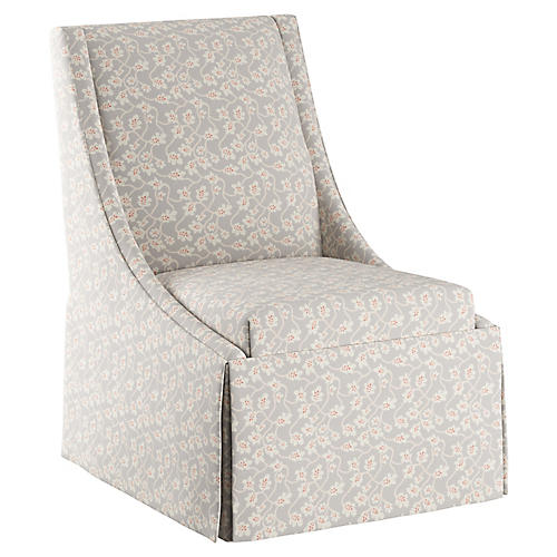 Jody Skirted Side Chair, Gray Vine