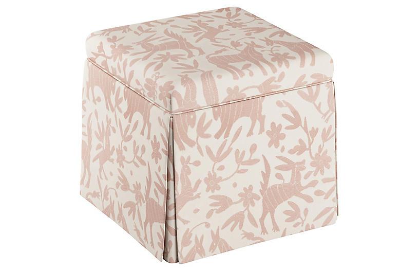 Anne Skirted Storage Ottoman, Pink Otomi