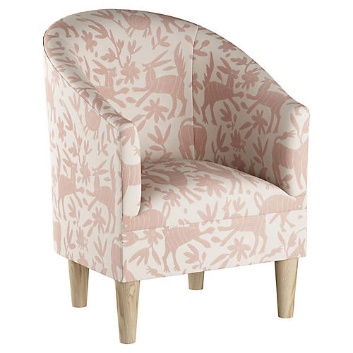 Ashlee Barrel Accent Chair, Pink Otomi