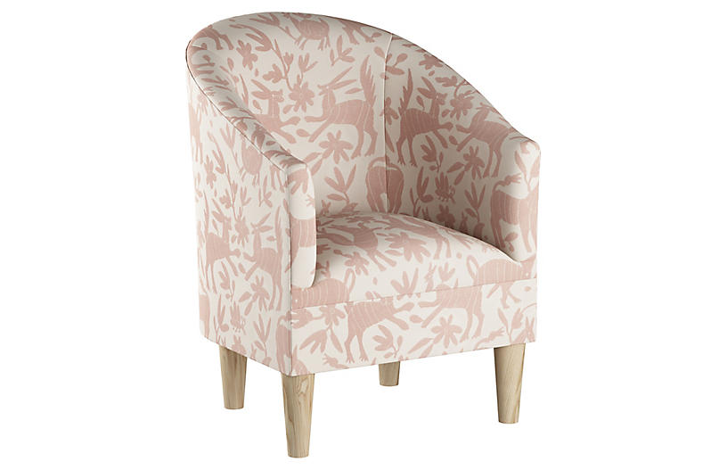 Ashlee Barrel Chair, Pink Otomi