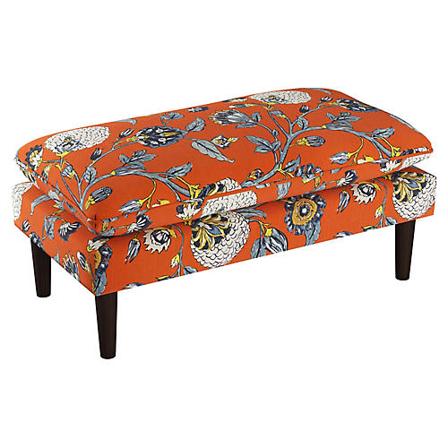Ella Pillow-Top Bench, Auretta Persimmon