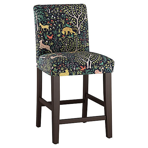 Shannon Counter Stool, Navy Garden