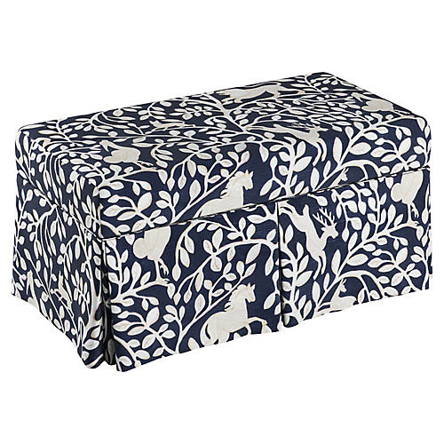 Anne Skirted Storage Bench, Navy Pantheon