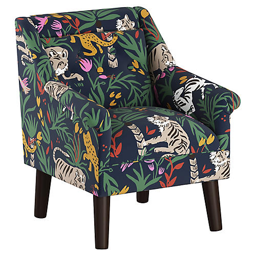 Bella Kids' Accent Chair, Navy Linen