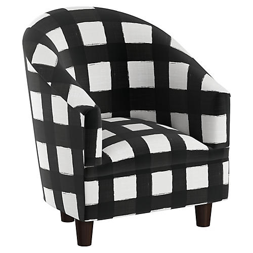 Ashlee Kids' Barrel Chair, White/Black Linen