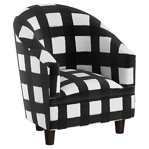 Ashlee Kids' Barrel Chair, White/Black Linen