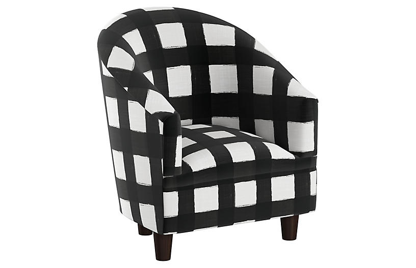 Ashlee Kids' Chair, White/Black Linen